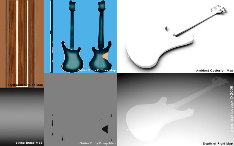 3D Rickenbacker Bass Guitar - Maps